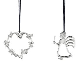 Heart with Flower and Angel with light 2 Hanging decorations silver plated