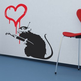 Banksy Love Rat Wall Stickers