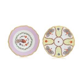 Rose flat plate with Pavone soup plate - La Tavola Scomposta