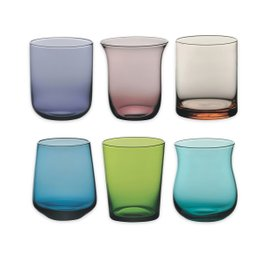 6 water glasses - assorted colors