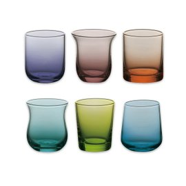 6 liqueur glasses Diseguale - colors assorted