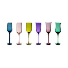6 Diseguale flutes - assorted colors