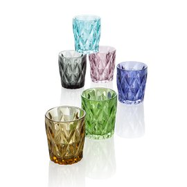6 bicchieri da acqua Diamante - colori assortiti