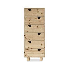 Commode House avec 6 tiroirs - naturel
