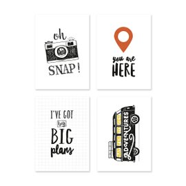 4 Decorative Mini Travellers Cards