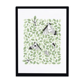 Print with frame - Zebra and leaves