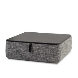 Kubik low pouf with leather top