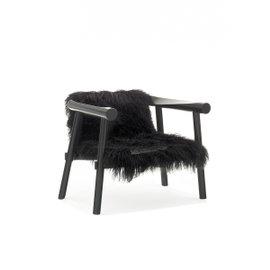 Altay armchair - Black Mongolian goatskin