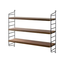 Walnut String Pocket shelving system