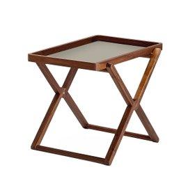 Tavolino pieghevole in noce con vassoio