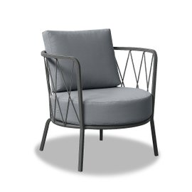 Fauteuil bas Desiree Lounge avec coussins - gris