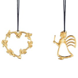 Heart with Flower and Angel with light 2 Hanging decorations gold plated