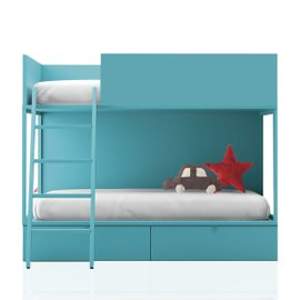 Vagon turquoise bunk bed with drawers